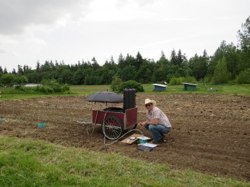 Dr. Smukler setting up the initial phase of his research at the UBC Farm.
